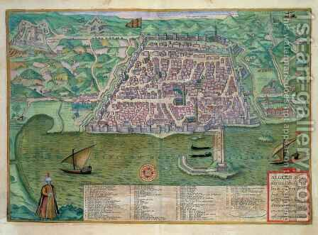 Map of Algiers from Civitates Orbis Terrarum by (after) Hoefnagel, Joris - Reproduction Oil Painting