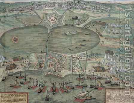 Map of Tunis from Civitates Orbis Terrarum by (after) Hoefnagel, Joris - Reproduction Oil Painting