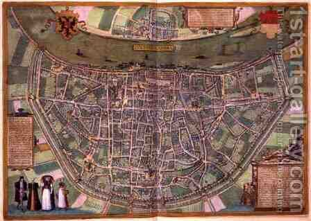 Map of Duisburg from Civitates Orbis Terrarum by (after) Hoefnagel, Joris - Reproduction Oil Painting