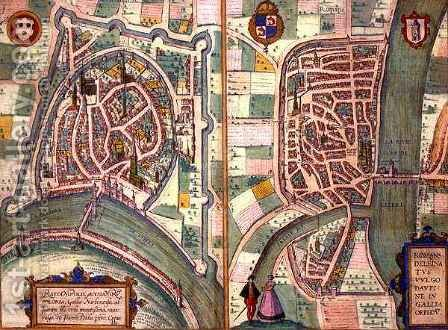 Maps of Grenoble and Romans sur Isere from Civitates Orbis Terrarum by (after) Hoefnagel, Joris - Reproduction Oil Painting
