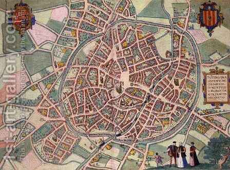 Map of Mechelen from Civitates Orbis Terrarum by (after) Hoefnagel, Joris - Reproduction Oil Painting