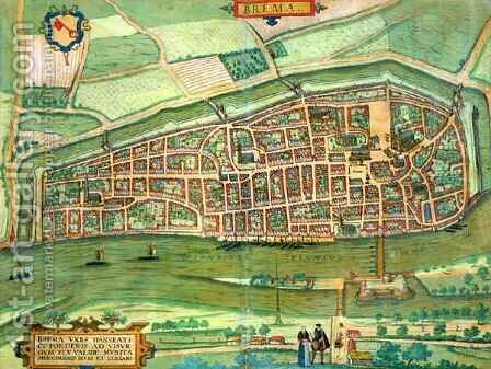 Map of Bremen from Civitates Orbis Terrarum by (after) Hoefnagel, Joris - Reproduction Oil Painting