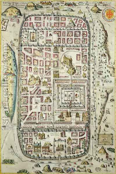 Map of Jerusalem and the surrounding area from Civitates Orbis Terrarum 2 by (after) Hoefnagel, Joris - Reproduction Oil Painting