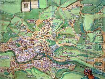 Map of Rome from Civitates Orbis Terrarum 2 by (after) Hoefnagel, Joris - Reproduction Oil Painting