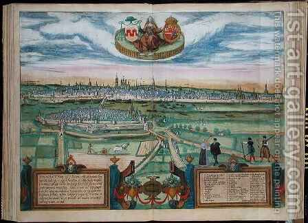 European City from Civitates Terrarum by (after) Hoefnagel, Joris - Reproduction Oil Painting