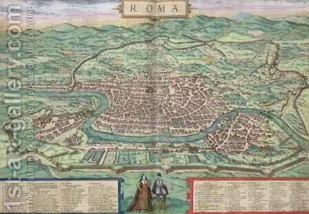 Map of Rome from Civitates Orbis Terrarum 3 by (after) Hoefnagel, Joris - Reproduction Oil Painting