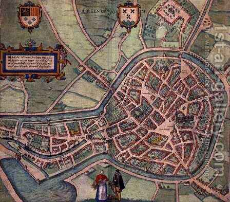 Map of Bergen op Zoom from Civitates Orbis Terrarum by (after) Hoefnagel, Joris - Reproduction Oil Painting