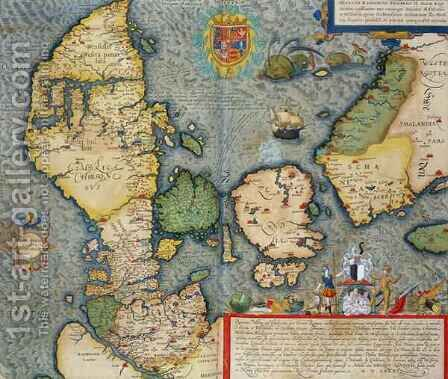 Map of Northern Europe from Civitates Orbis Terrarum by (after) Hoefnagel, Joris - Reproduction Oil Painting