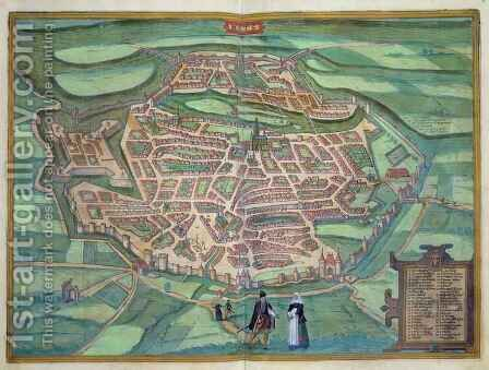Map of Metz from Civitates Orbis Terrarum by (after) Hoefnagel, Joris - Reproduction Oil Painting