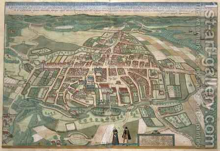Map of Odense from Civitates Orbis Terrarum by (after) Hoefnagel, Joris - Reproduction Oil Painting