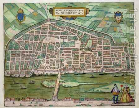 Map of Aurelia from Civitates Orbis Terrarum by (after) Hoefnagel, Joris - Reproduction Oil Painting