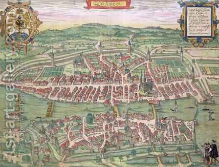 Map of Zurich from Civitates Orbis Terrarum by (after) Hoefnagel, Joris - Reproduction Oil Painting