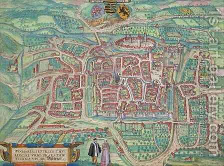 Map of Weimar from Civitates Orbis Terrarum by (after) Hoefnagel, Joris - Reproduction Oil Painting
