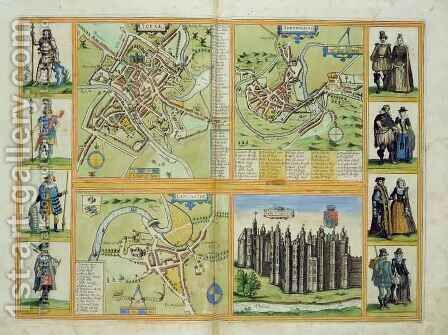 Maps of York Shrewsbury Lancaster and Richmond from Civitates Orbis Terrarum by (after) Hoefnagel, Joris - Reproduction Oil Painting