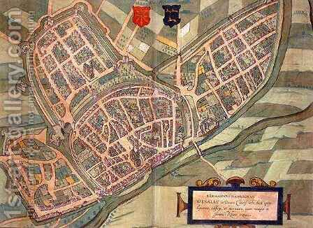 Map of Wesel from Civitates Orbis Terrarum by (after) Hoefnagel, Joris - Reproduction Oil Painting