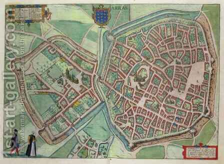 Map of Arras from Civitates Orbis Terrarum by (after) Hoefnagel, Joris - Reproduction Oil Painting