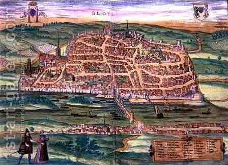 Map of Blois from Civitates Orbis Terrarum by (after) Hoefnagel, Joris - Reproduction Oil Painting