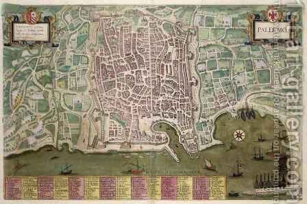 Map of Palermo from Civitates Orbis Terrarum by (after) Hoefnagel, Joris - Reproduction Oil Painting