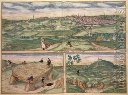 Map of Poitiers from Civitates Orbis Terrarum by (after) Hoefnagel, Joris - Reproduction Oil Painting
