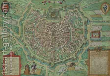 Map of Milan from Civitates Orbis Terrarum by (after) Hoefnagel, Joris - Reproduction Oil Painting
