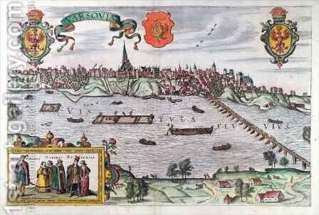 Map of Warsaw from Civitates Orbis Terrarum 3 by (after) Hoefnagel, Joris - Reproduction Oil Painting