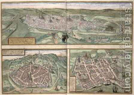 Town Plans of Rouen Nimes and Bordeaux from Civitates Orbis Terrarum by (after) Hoefnagel, Joris - Reproduction Oil Painting