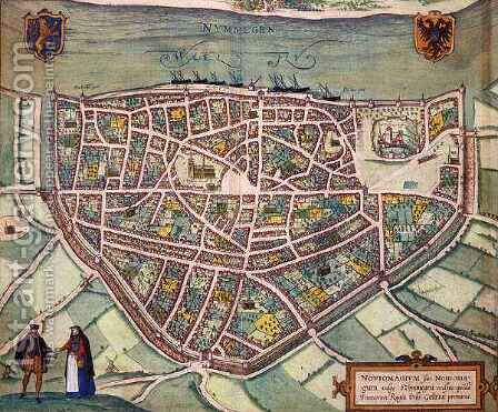 Map of Nijmegen from Civitates Orbis Terrarum 2 by (after) Hoefnagel, Joris - Reproduction Oil Painting