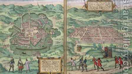 Map of Mexico and Cuzco from Civitates Orbis Terrarum by (after) Hoefnagel, Joris - Reproduction Oil Painting