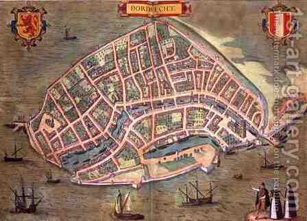 Map of Dordrecht from Civitates Orbis Terrarum by (after) Hoefnagel, Joris - Reproduction Oil Painting