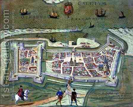 Map of Calais from Civitates Orbis Terrarum by (after) Hoefnagel, Joris - Reproduction Oil Painting