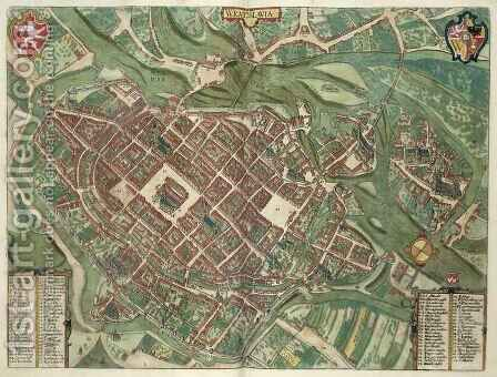 Map of Bratislava from Civitates Orbis Terrarum by (after) Hoefnagel, Joris - Reproduction Oil Painting