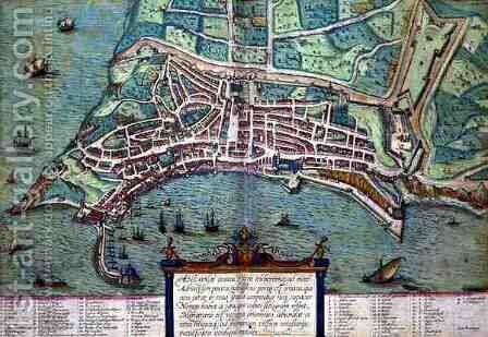 Map of Ancona from Civitates Orbis Terrarum by (after) Hoefnagel, Joris - Reproduction Oil Painting