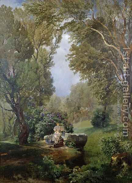 A Woodland Idyll by Anton Hlavacek - Reproduction Oil Painting