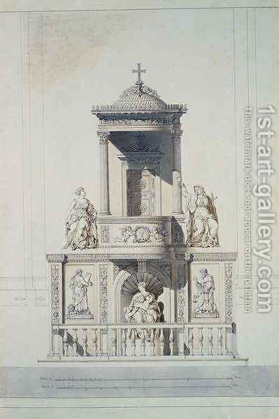 Design for a Pulpit by Jacques Ignace Hittorff - Reproduction Oil Painting