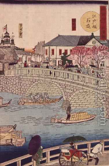 The Stone bridge at Edobashi by Hiroshige III - Reproduction Oil Painting