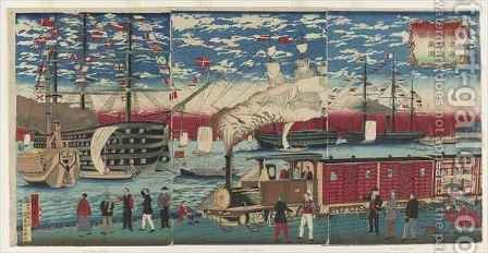 Picture of a Locomotive Along the Yokohama Waterfront Yokohama Edo period by Hiroshige III - Reproduction Oil Painting