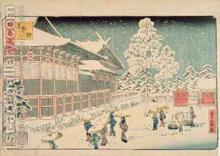 Shiba Jimmei Shrine from the series Famous Places in Edo by Hiroshige II (Ichiusai Shigenobu) - Reproduction Oil Painting