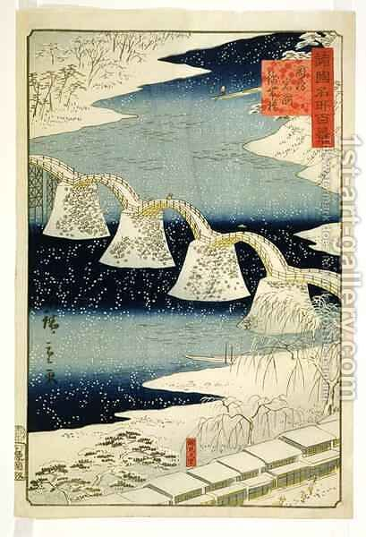 Kintai bridge in the snow from the series Shokoku Meisho Hyakkei by Hiroshige II (Ichiusai Shigenobu) - Reproduction Oil Painting