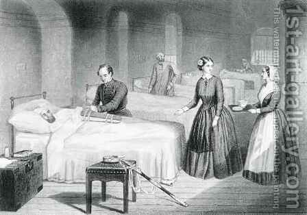 Miss Nightingale in the Hospital at Scutari by (after) Hind, Robert Neal - Reproduction Oil Painting