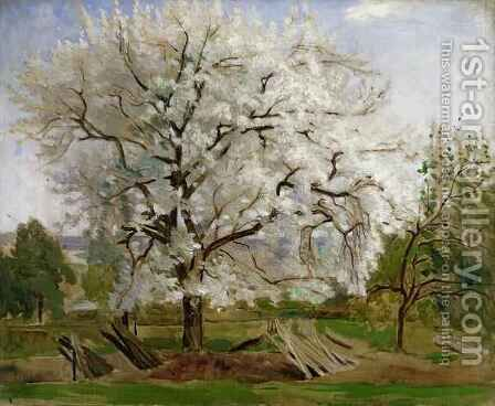 Apple Tree in Blossom by Carl Fredrik Hill - Reproduction Oil Painting