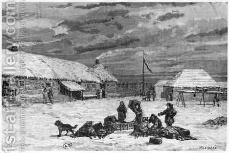 Fur Trade in Alaska Fort Saint Michel by Henri Theophile Hildibrand - Reproduction Oil Painting