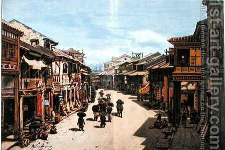 A street in Hong Kong in the mid nineteenth century by (after) Hildebrandt, Eduard - Reproduction Oil Painting