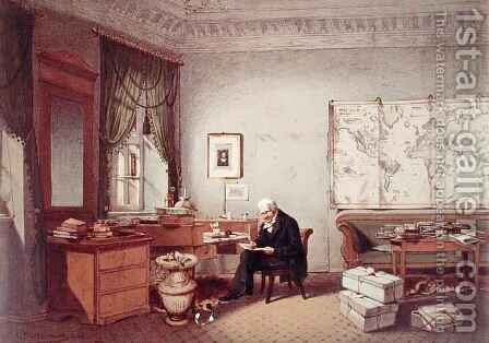 Baron Alexander von Humboldt 1769-1859 in his Study by (after) Hildebrandt, Eduard - Reproduction Oil Painting
