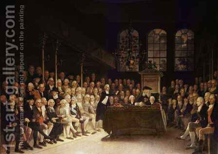 William Pitt addressing the House of Commons on the French Declaration of Wars 1793 by Anton Hickel - Reproduction Oil Painting
