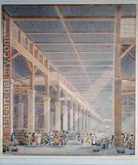 View of La Halle aux Vins by Auguste Hibon - Reproduction Oil Painting