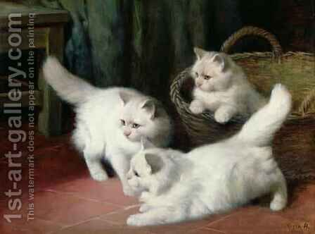 Three White Angora Kittens by Arthur Heyer - Reproduction Oil Painting