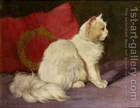White Persian Cat by Arthur Heyer - Reproduction Oil Painting