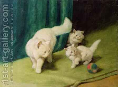 White Persian Cat with Two Kittens by Arthur Heyer - Reproduction Oil Painting