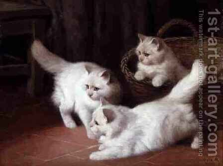 Three White Angora Kittens 2 by Arthur Heyer - Reproduction Oil Painting