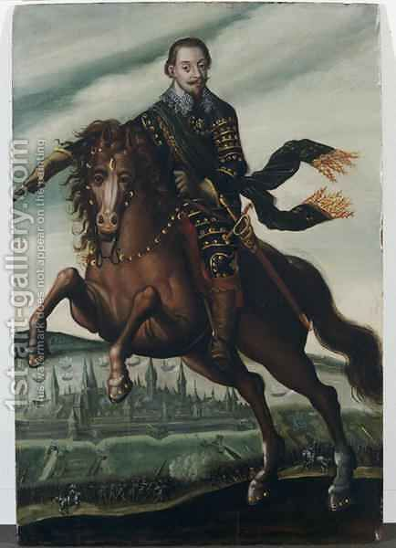 Portrait of Gustavus Adolphus II King of Sweden on horseback in the Battle of Stralsund by Jacob van der Heyden - Reproduction Oil Painting